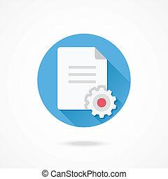 vector, document, instellingen, pictogram