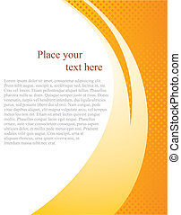 Document page vector template with white place for text and abstract orange wave background