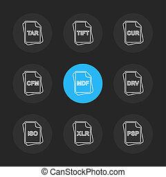 vector, documenten, bestand, set, eps, archief, type, iconen