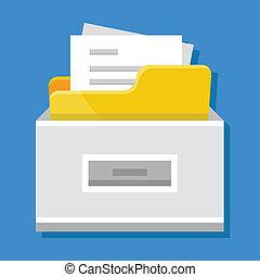 vector, documentos, archivador