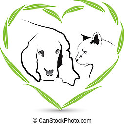 Vector Dog and Cat friendship veterinary icon design