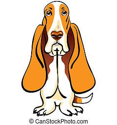 color sketch of the dog Basset Hound breed sitting