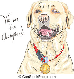 vector dog breed Labrador Retriever champion - Smiling happy...