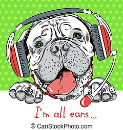 vector dog Bullmastiff with phone headset - Poster with...