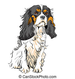 vector dog Cavalier King Charles Spaniel