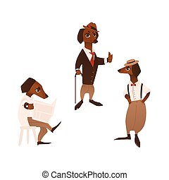 vector dog character in formal clothing set - vector cartoon...