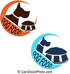 Vector dog food label with silhouette of a dog and a bowl of...