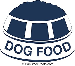 Vector dog food label with silhouette of a bowl of feed. Dog...