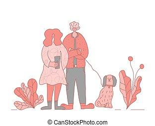 vector, dog, rerson, het lopen., menselijk, dog., design.