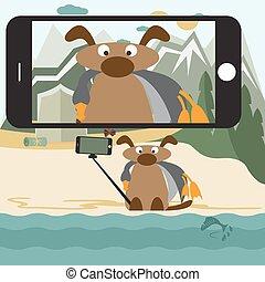vector, dog, selfie, stick., ontwerp, illustratie, concept, plat