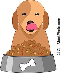 vector dog sitting in front of plastic dog bowl with food