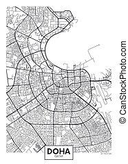 vector, doha, ciudad, detallado, mapa, cartel