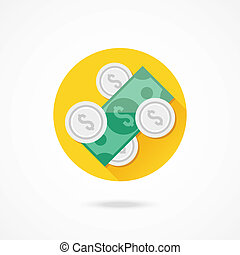Vector Dollar Bill and Coins Icon