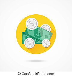 Vector Dollar Bills and Coins Icon