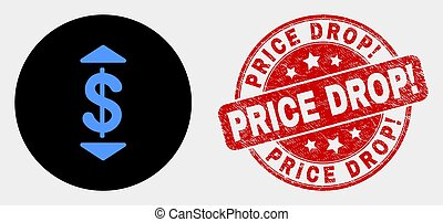 Vector Dollar up Down Icon and Distress Price Drop! Stamp
