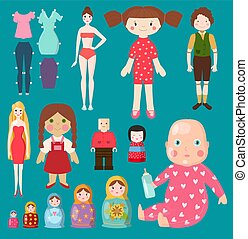 Vector dolls toy character girls and boys human face and...