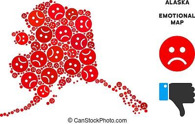 Vector Dolor Alaska Map Mosaic of Sad Smileys - Emotional...