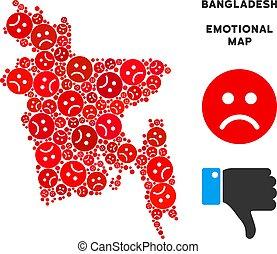 Vector Dolor Bangladesh Map Composition of Sad Smileys -...