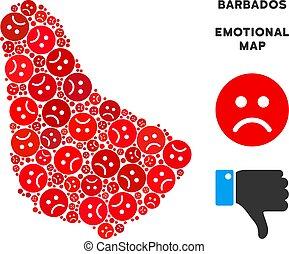 Vector Dolor Barbados Map Collage of Sad Smileys - Sorrow...
