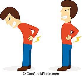 vector, dolor, conseguir, blanco, caricatura, dolor de espalda, hombre