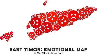 Vector Dolor East Timor Map Composition of Sad Smileys -...