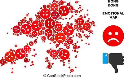 Vector Dolor Hong Kong Map Composition of Sad Smileys -...