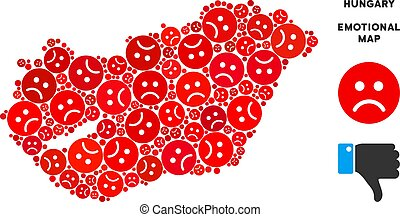 Vector Dolor Hungary Map Composition of Sad Smileys -...