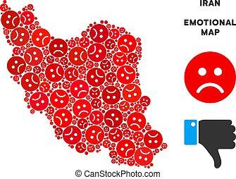 Vector Dolor Iran Map Composition of Sad Emojis - Emotion...