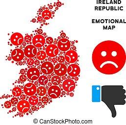 Vector Dolor Ireland Republic Map Composition of Sad Smileys...