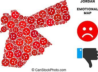 Vector Dolor Jordan Map Collage of Sad Smileys - Sorrow...