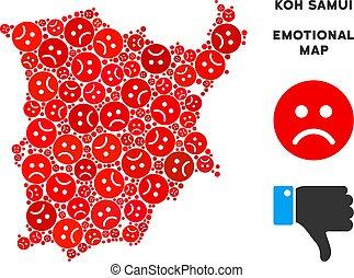 Vector Dolor Koh Samui Map Mosaic of Sad Smileys - Emotion...
