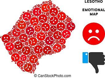 Vector Dolor Lesotho Map Collage of Sad Emojis - Emotion...