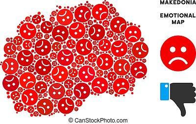 Vector Dolor Makedonia Map Composition of Sad Emojis -...