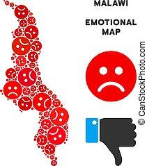 Vector Dolor Malawi Map Mosaic of Sad Smileys - Emotion...