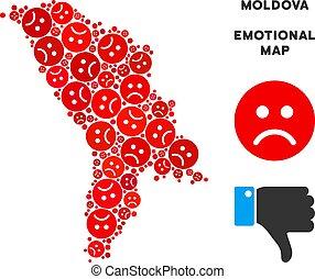 Vector Dolor Moldova Map Mosaic of Sad Emojis - Sorrow...