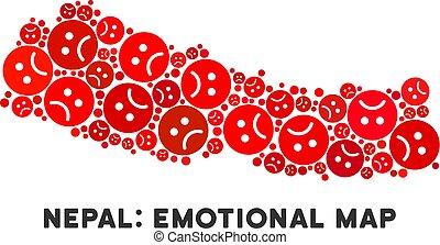 Vector Dolor Nepal Map Mosaic of Sad Emojis - Sorrow Nepal...