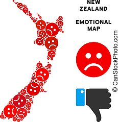 Vector Dolor New Zealand Map Collage of Sad Smileys -...