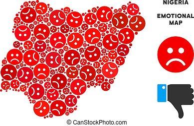Vector Dolor Nigeria Map Mosaic of Sad Emojis - Emotion...