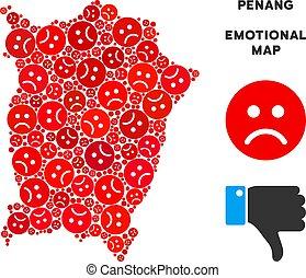 Vector Dolor Penang Island Map Mosaic of Sad Emojis - Sorrow...