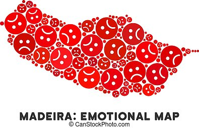 Vector Dolor Portugal Madeira Island Map Composition of Sad...
