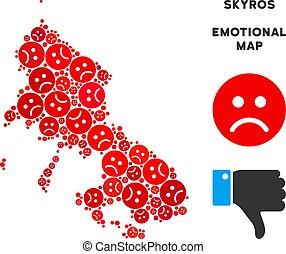 Vector Dolor Skyros Greek Island Map Composition of Sad...