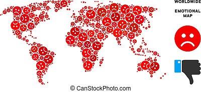 Vector Dolor World Map Mosaic of Sad Smileys - Emotion world...