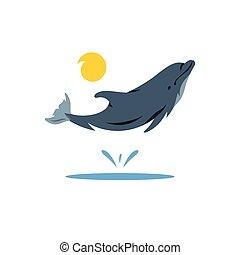 Vector Dolphin Cartoon Illustration.
