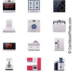 Vector domestic appliances set. P.1 - Set of icons ...