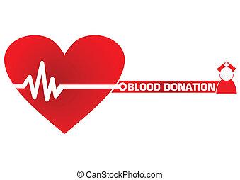 vector, donación, concepto, sangre, ilustración