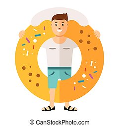 Vector Donut boy. Flat style colorful Cartoon illustration....