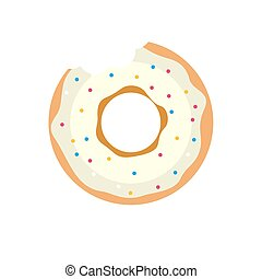 Vector donut icon. Sugar donut illustration. Caramel donut...