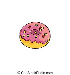 Vector donut with glaze icing, sprinkles isolated