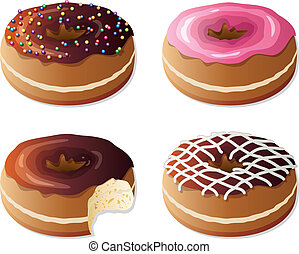 vector donuts - vector collection of glazed donuts