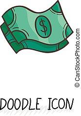 Vector doodle banknotes icon.